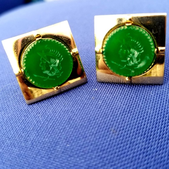 591f4ea409ba Vintage Accessories | Roman Intaglio Green Glass Swank Cufflinks ...